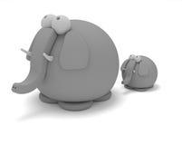 Elefant mit Schätzchen Stockbild