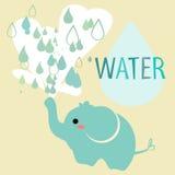 Elefant mit Wasser lizenzfreie abbildung