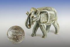 Elefant och bollen Arkivbilder