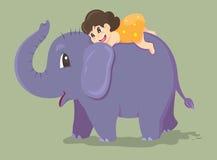 Elefant och flicka Fotografering för Bildbyråer