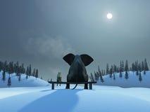 Elefant och hund på julnatten Arkivbild