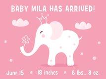 Elefant och moln Behandla som ett barn mallen för kortet för flickafödelsemeddelandet Royaltyfria Bilder