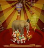 Elefant på cirkusen illustration Fotografering för Bildbyråer