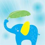 Elefant på en regnig dag stock illustrationer