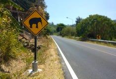 Elefant som varnar det gula tecknet och v?gen p? bakgrund i Thailand royaltyfria foton