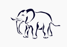 Elefant symbol, tatuering. Arkivfoton