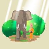 Elefant-Tiermönch Walk Culture Vector Lizenzfreies Stockbild