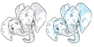 Elefant två skissar på vit bakgrund Ställ in av färgrika elefanter stock illustrationer