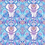 Elefant und abstrakte Blumen stockfotografie