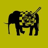 Elefant und eine Fliege auf einem gelben Hintergrund Stockbilder