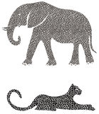 Elefant und Gepard Lizenzfreies Stockfoto