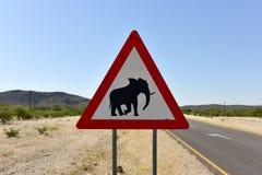 Elefant-Zeichen - Namibia Lizenzfreie Stockfotografie