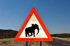 Elefant-Zeichen - Namibia Lizenzfreie Stockbilder