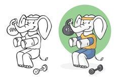 Elefantathlet, der Gymnastik tut Stockbilder