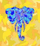 Elefantblau auf gelbem Schattenblatthintergrund stockbild