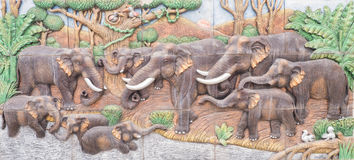 Elefantcementskulptur Royaltyfria Foton