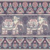 Elefante étnico del loto indio gráfico del vector del vintage ilustración del vector