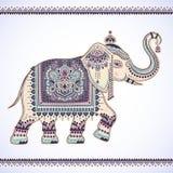 Elefante étnico del loto indio gráfico del vector del vintage Tri africano stock de ilustración