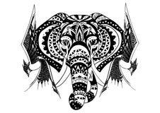 Elefante étnico del loto indio gráfico del vector del vintage Ornamento tribal africano libre illustration