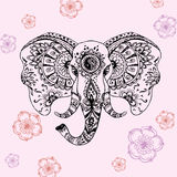 Elefante abstrato no mehndi indiano do estilo Foto de Stock