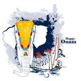 Elefante adornado para Onam feliz stock de ilustración