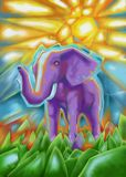 Elefante africano astratto che dipinge l'illustrazione di Digital Fotografia Stock