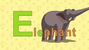Elefante Alfabeto inglese dello ZOO - lettera E illustrazione di stock