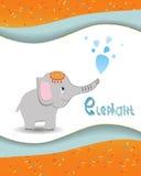 Elefante animal del alfabeto con un fondo coloreado Foto de archivo libre de regalías