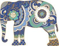 Elefante asiatico con i modelli illustrazione vettoriale