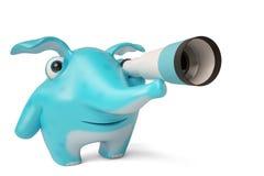 Elefante azul bonito dos desenhos animados e telescópio, ilustração 3D Foto de Stock