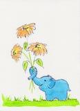 Elefante azul con las flores Imagen de archivo