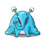 Elefante azul do monstro dos desenhos animados bonitos isolado no fundo branco Imagens de Stock