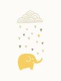 Elefante bajo la nube que llueve Imagen de archivo