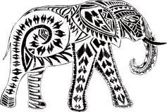 Elefante bonito com efeito étnico Ilustração do Vetor