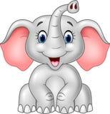 Elefante bonito do bebê dos desenhos animados isolado no fundo branco Fotos de Stock