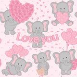 Elefante bonito do Valentim do teste padrão sem emenda Fotos de Stock Royalty Free