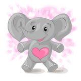Elefante bonito dos desenhos animados com corações ilustração royalty free