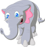 Elefante bonito dos desenhos animados na terra da parte traseira do branco Fotografia de Stock Royalty Free