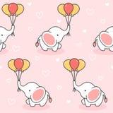 Elefante bonito e fundo sem emenda do teste padrão dos balões ilustração royalty free