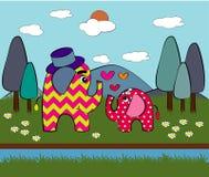 Elefante bonito no amor Ilustração Imagem de Stock