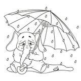Elefante Carácter Llorando debajo de un paraguas, otoño, lluvia Colección grande de elefantes aislados Vector, historieta stock de ilustración