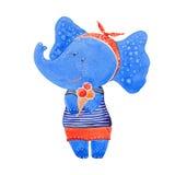 Elefante com gelado ilustração royalty free