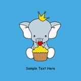 Elefante com um queque Imagem de Stock Royalty Free