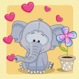 Elefante con cuore ed il fiore royalty illustrazione gratis