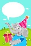 Elefante con el regalo de cumpleaños Fotografía de archivo libre de regalías