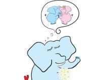 Elefante con el sueño de las flores Foto de archivo libre de regalías