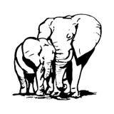Elefante con il cucciolo 0 royalty illustrazione gratis