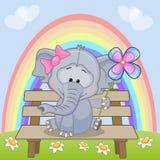 Elefante con il fiore illustrazione di stock