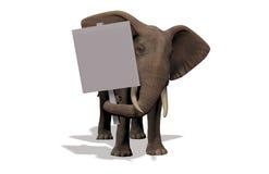 Elefante con il segno Immagini Stock