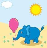 Elefante con l'aerostato illustrazione vettoriale
